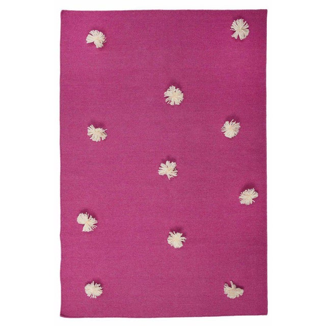 Flat Woven Dhurrie Pink & White Pom Rug - 4' x 6' - Image 3 of 3