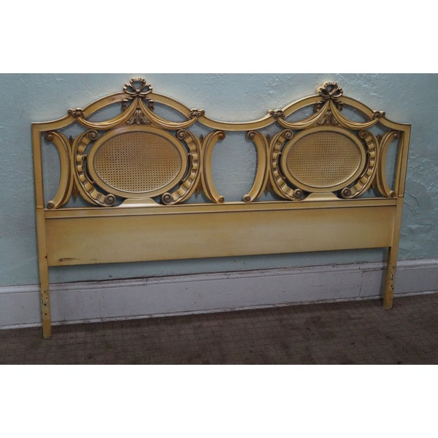 Vintage gold painted french king size headboard chairish for Painted on headboard