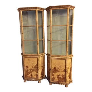 Painted Chinoiserie Curio Cabinets - A Pair