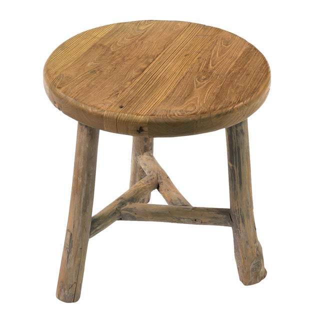 Antique Sarreid LTD Elm Round Side Table - Image 1 of 5