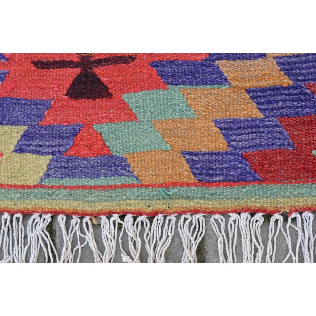 Hand-Woven Turkish Diamond Kilim Rug - 4′7″ × 6′4″ - Image 3 of 9
