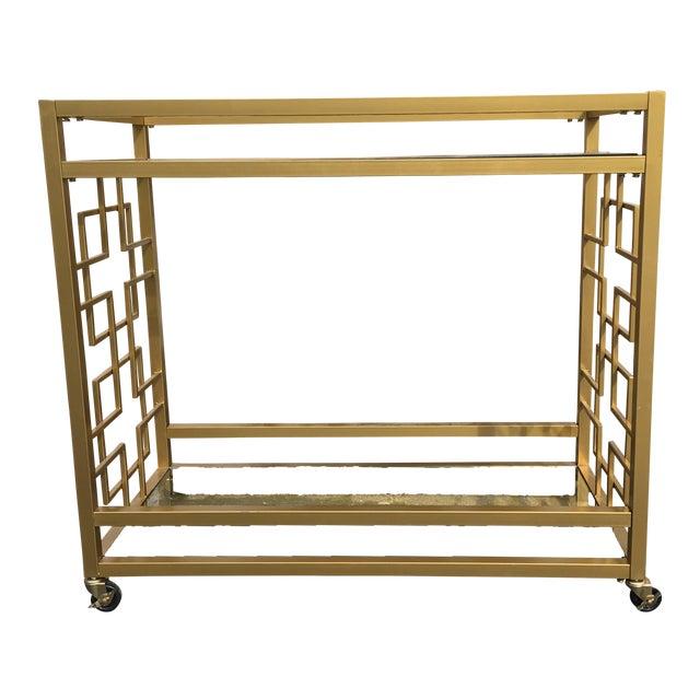 Greek Key Gold Bar Cart Chairish