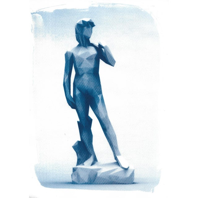 Michelangelo's David Low-Poly Sculpture, Cyanotype Print on Watercolor Paper - Image 1 of 4