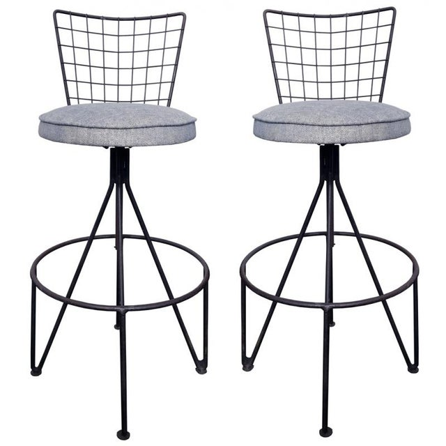 Image of Mid-Century Iron Barstools - A Pair