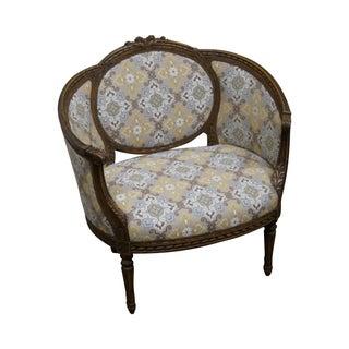 Antique Louis XV Walnut Barrel Back Lounge Chair
