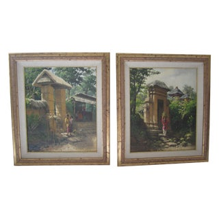 "Custom Framed Oil Paintings ""At Market"" - Pair"
