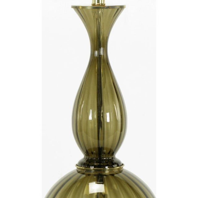 Image of Fluted & Smoked Glass Sinuous Table Lamp