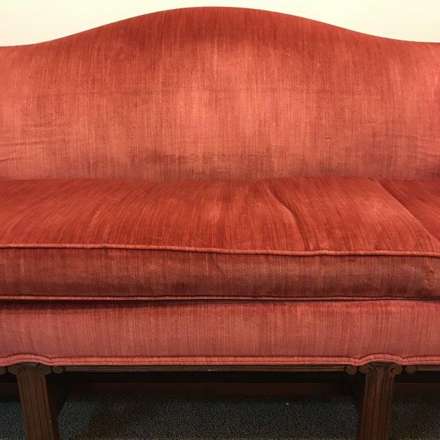 Hickory Chair Camel Back Velvet Sofa - Image 3 of 7