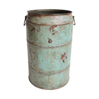 Vintage Painted Iron Barrel