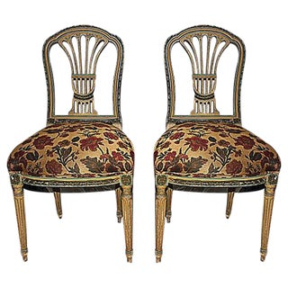 French Painted Chairs - Pair