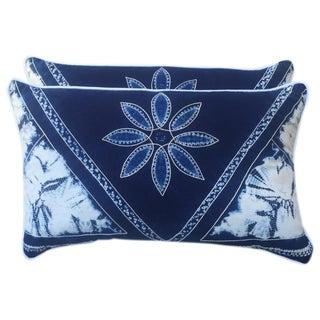 Blue & White Batik Cotton Pillows - A Pair