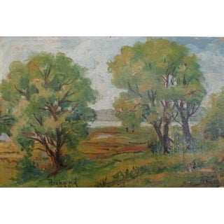 1932 Oil Landscape Painted on Cigar Box Wood
