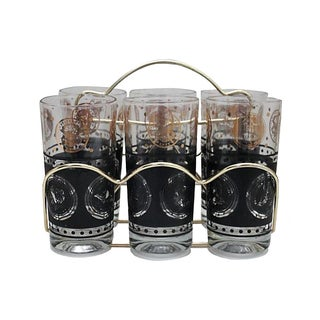 Mid-Century Coin Glasses with Caddy - Set of 7