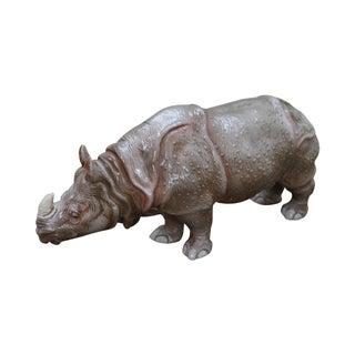 Vintage Italian Glazed Terracotta Rhino Statue