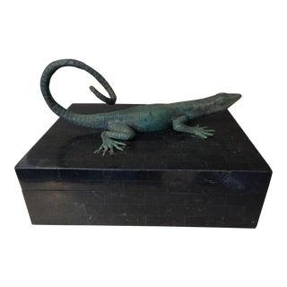 Maitland-Smith Bronze Lizard Tessellated Box
