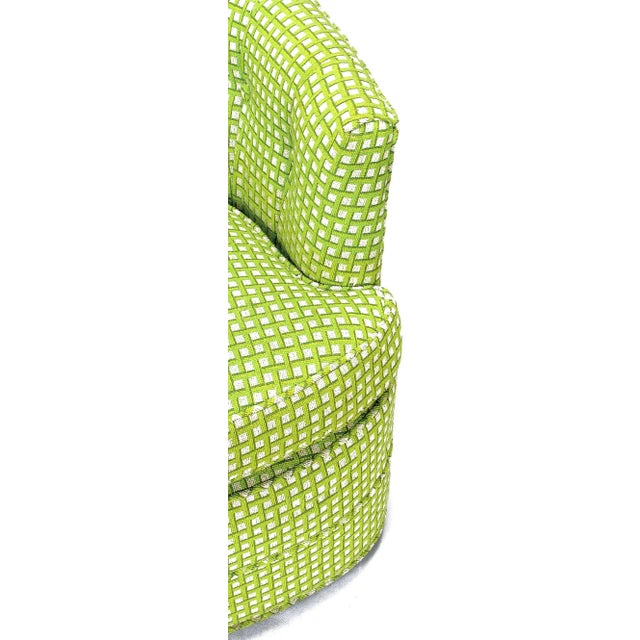 Pair Barrel Back Swivel Chairs In Chartreuse Needlepoint - Image 8 of 8
