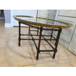 Image of Baker Faux Bamboo and Glass Cocktail Table