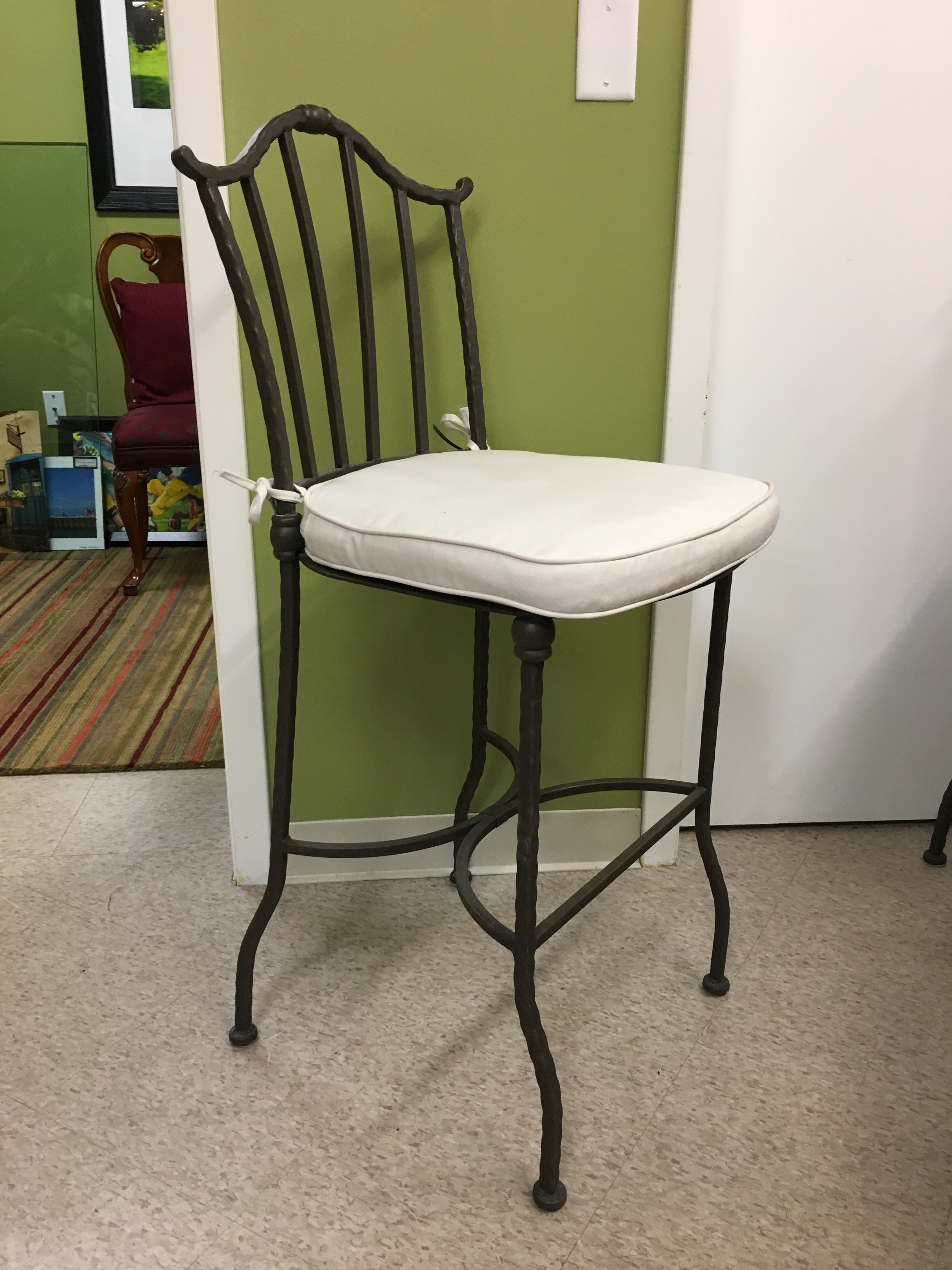 Iron Counter Stools With Cushions Set Of 4 Chairish
