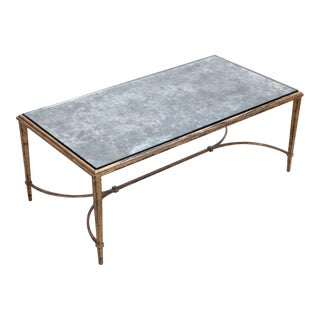 Rare Silver Plated Glass Maison Ramsay Coffee Table in Gold Leaf