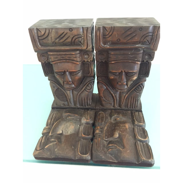 Vintage Wood Carved Aztec Bookends - A Pair - Image 2 of 8