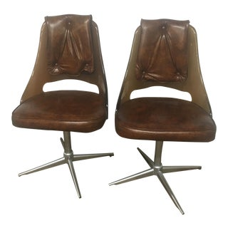Mid-Century Acrylic Brown Swivel Chairs - A Pair