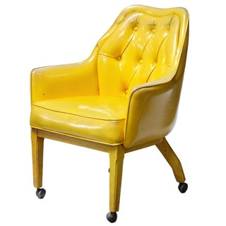 Lemon Yellow Vinyl Accent Chair