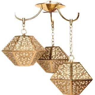 3-Tier Hanging Brass Chinoiserie Lamp