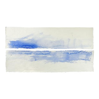 Blue Water Abstract Watercolor Diptych