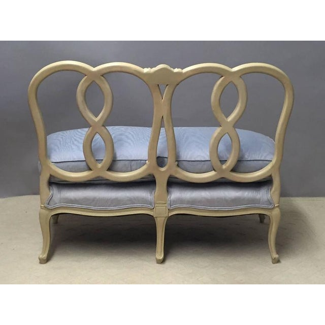 Hollywood Regency Style Painted Wood & Down Cushion Loveseat - Image 3 of 5