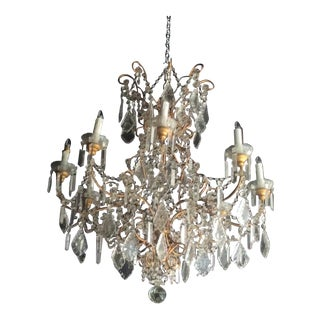 Large Vintage Italian Beaded Chandelier