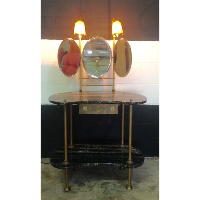 Image of Italian Marble & Brass Lighted Vanity