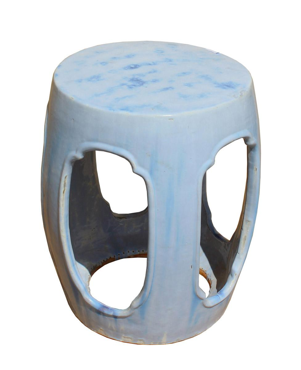 Chinese Round Barrel Light Blue Ceramic Clay Garden Stool   Image 5 Of 7