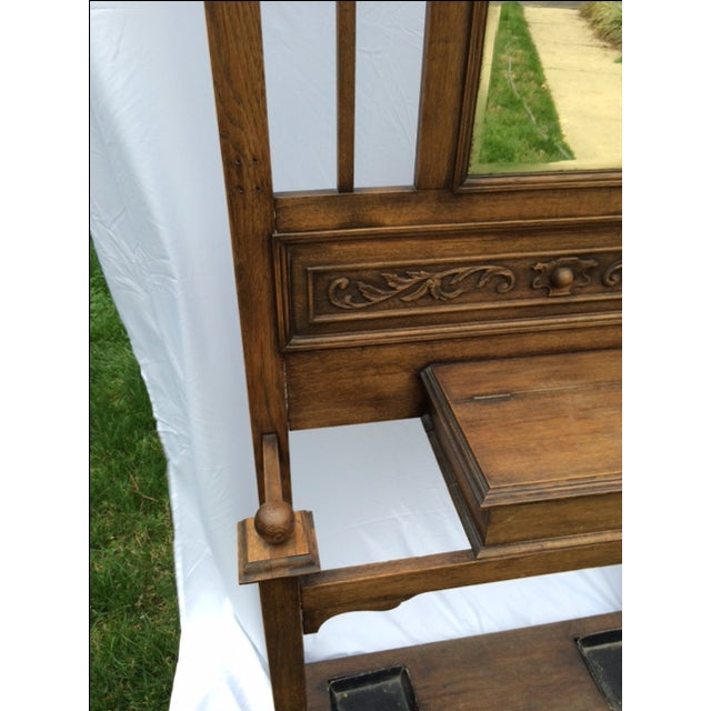 Antique English Oak Hall Stand - Image 3 of 7