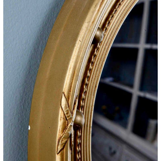 Image of 1920s Gilded Round Frame Mirror with Beaded Trim