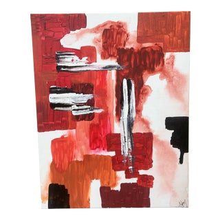 Vibrant Red Vein Abstract Painting