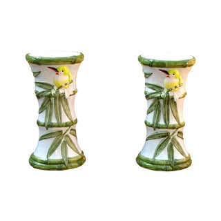 Birds and Bamboo Ceramic Candle Holders- A Pair