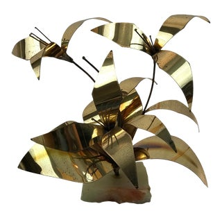 "Mario Jason Brutalist ""Lily"" Brass Sculpture"