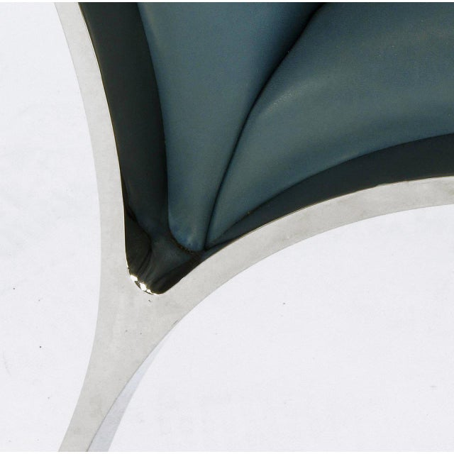 Four Bert England for Brueton Polished Steel & Cadet Blue Leather Lounge Chairs - Image 8 of 10