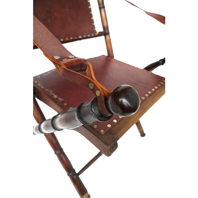 Campaign Style Leather & Ash Folding Chairs - Pair - Image 10 of 10