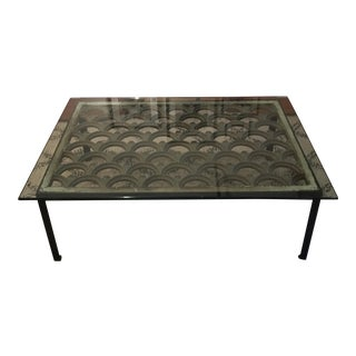 Industrial Iron & Glass Top Coffee Table
