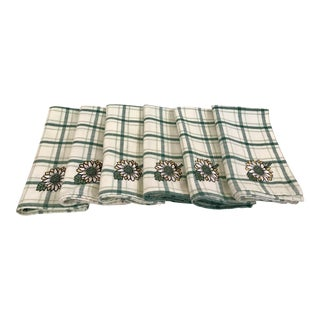 Mid-Century Sunflower Green Plaid Napkins - Set of 6