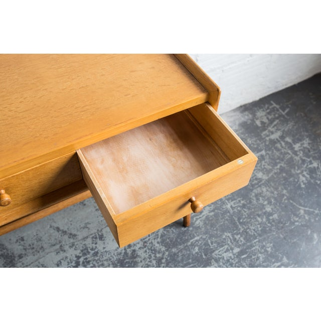 Heals Three Drawer Oak Vanity Desk - Image 7 of 8