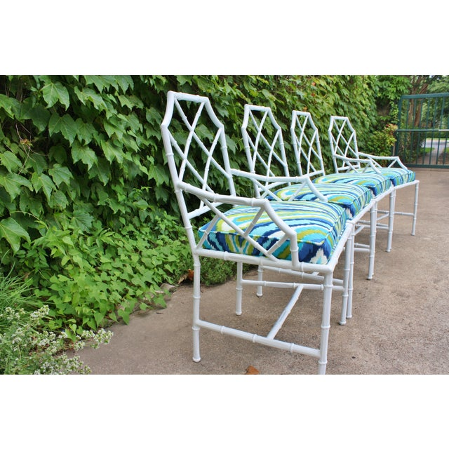 Chinoiserie Faux Bamboo Metal Chairs - Set of 4 - Image 6 of 6