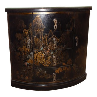 Asian Black Lacquer Half Moon Chest