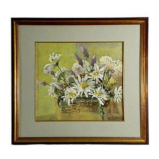Floral Basket Watercolor Painting by Meredith Brooks Abbott