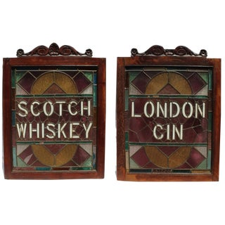1930s Vintage English Pub Stained Glass - a Pair
