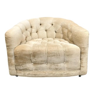 Milo Baughman Modern Tufted Barrel Chair
