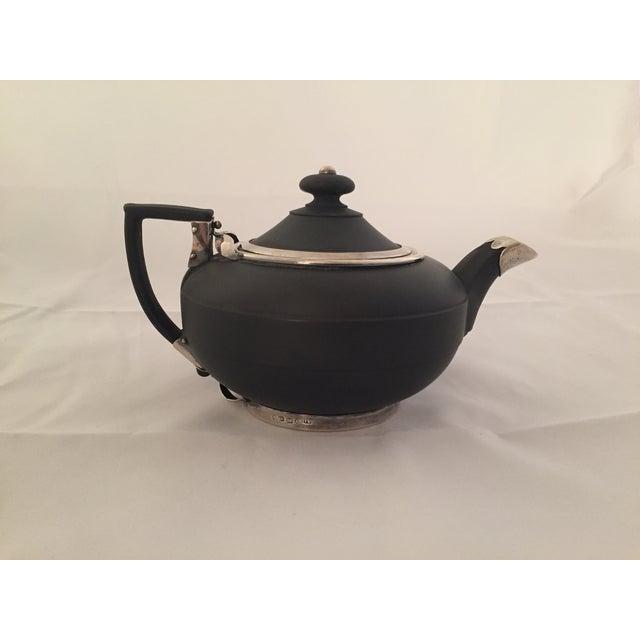 Wedgwood Sterling Silver & Black Basalt Teapot - Image 3 of 7