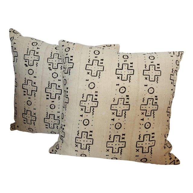 African Cream Mud Cloth Pillows - Pair - Image 1 of 4