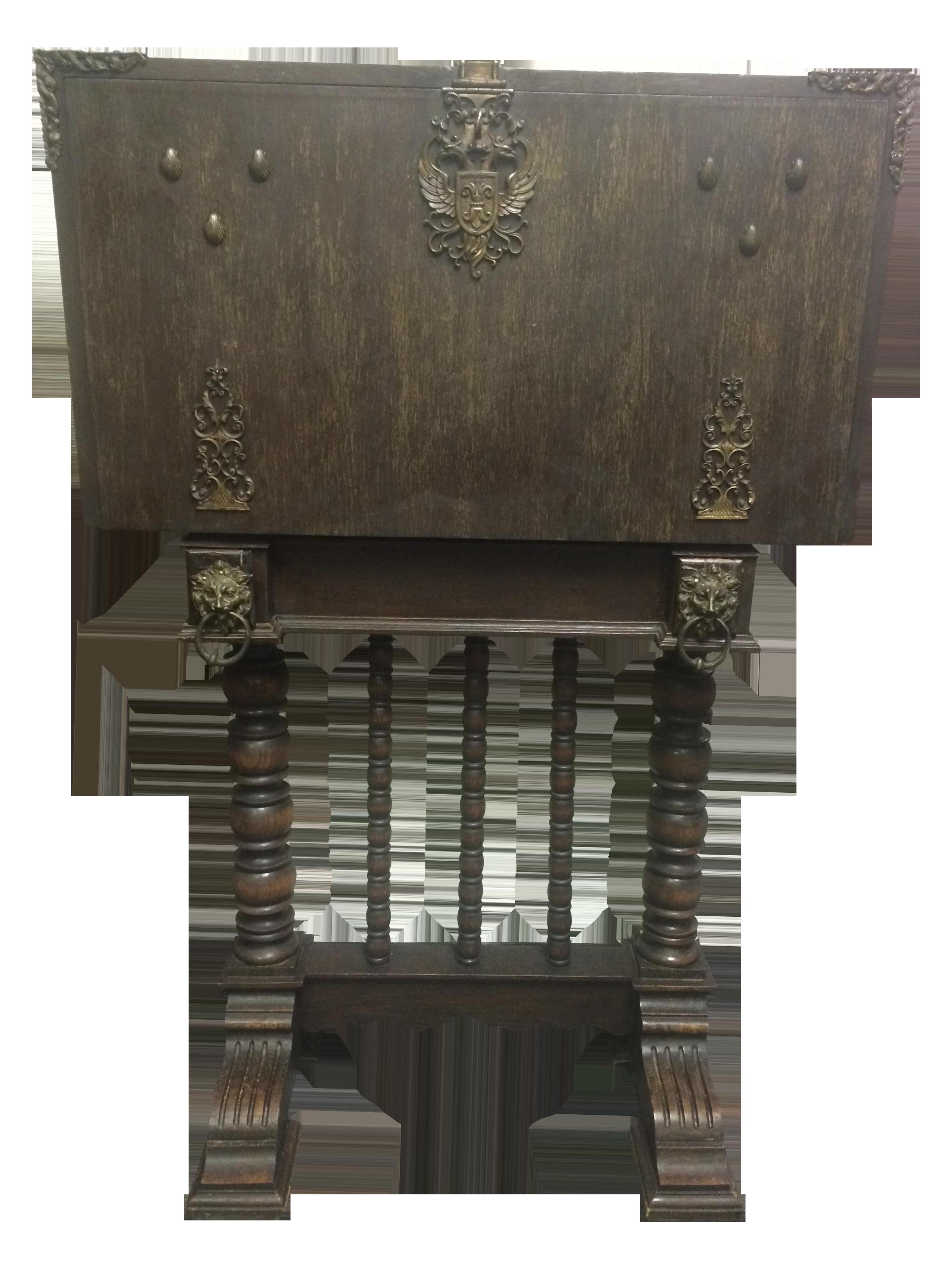 Antique Spindle Leg Ornate Metal Secretary Desk   Image 1 Of 11